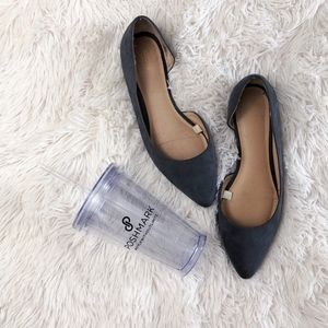 MOSSIMO grey pointed d'Orsay faux suede flats